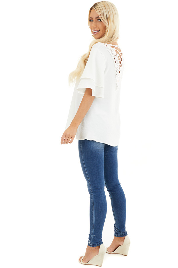 Off White Short Sleeve Top with Back Lace Panel Detail side full body
