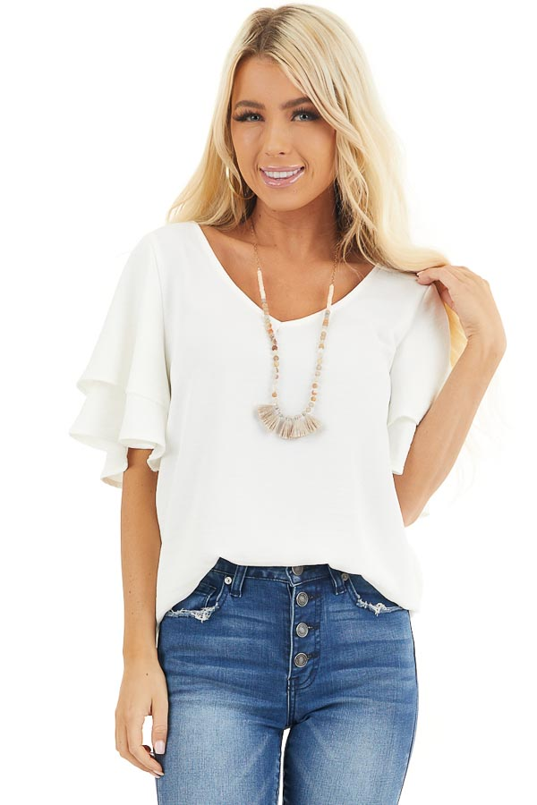 Off White Short Sleeve Top with Back Lace Panel Detail front close up