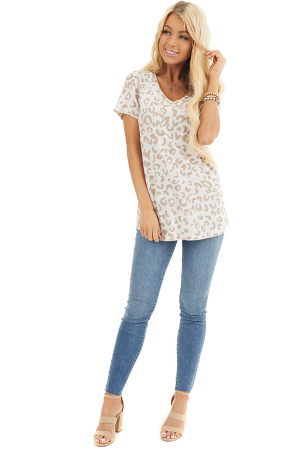 Cream and Latte Leopard Print V Neck Top with Short Sleeves front full body