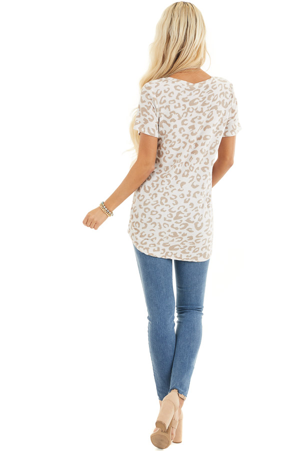 Cream and Latte Leopard Print V Neck Top with Short Sleeves back full body