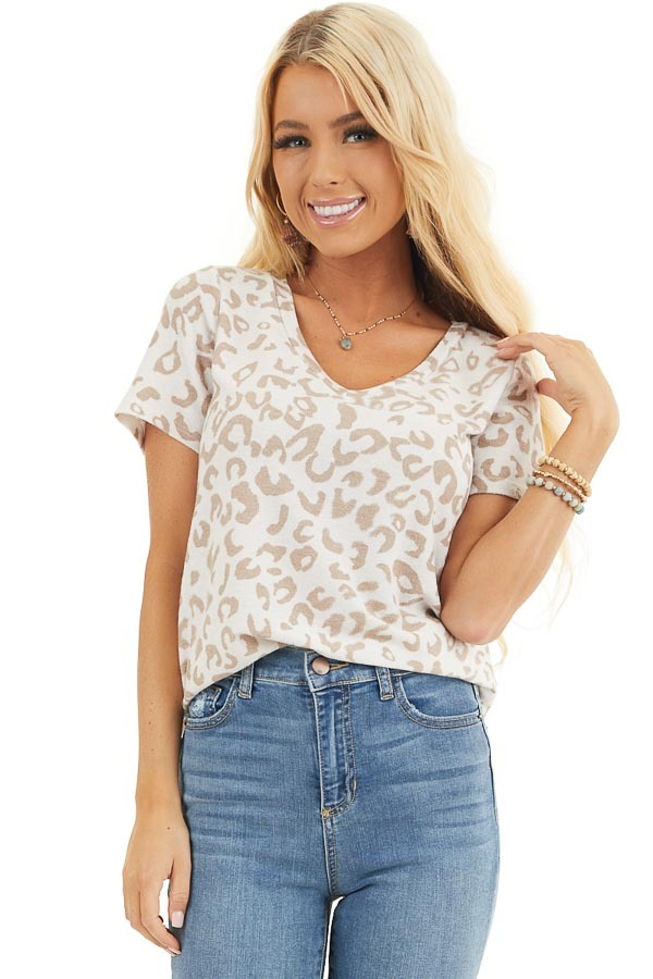 Cream and Latte Leopard Print V Neck Top with Short Sleeves front close up