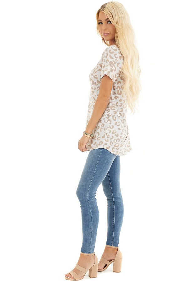 Cream and Latte Leopard Print V Neck Top with Short Sleeves side full body