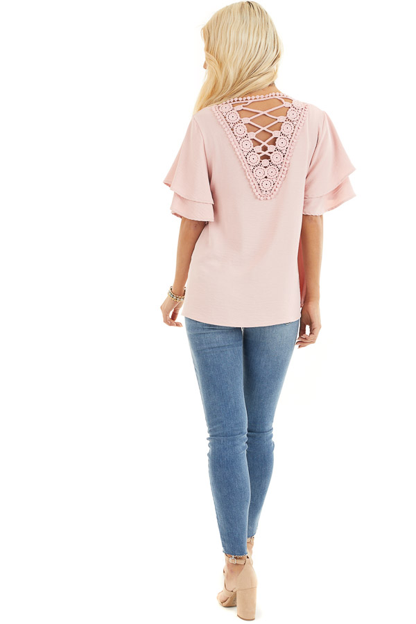 Dusty Blush Short Sleeve Top with Back Lace Panel Detail back full body