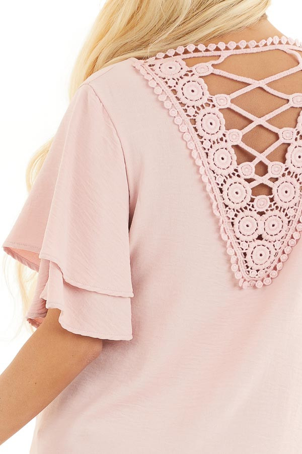 Dusty Blush Short Sleeve Top with Back Lace Panel Detail detail