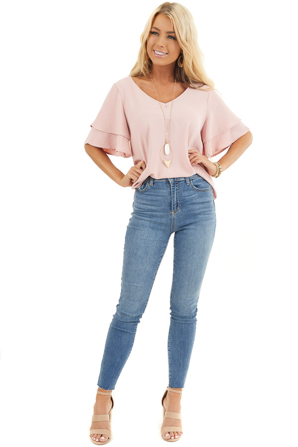Dusty Blush Short Sleeve Top with Back Lace Panel Detail front full body