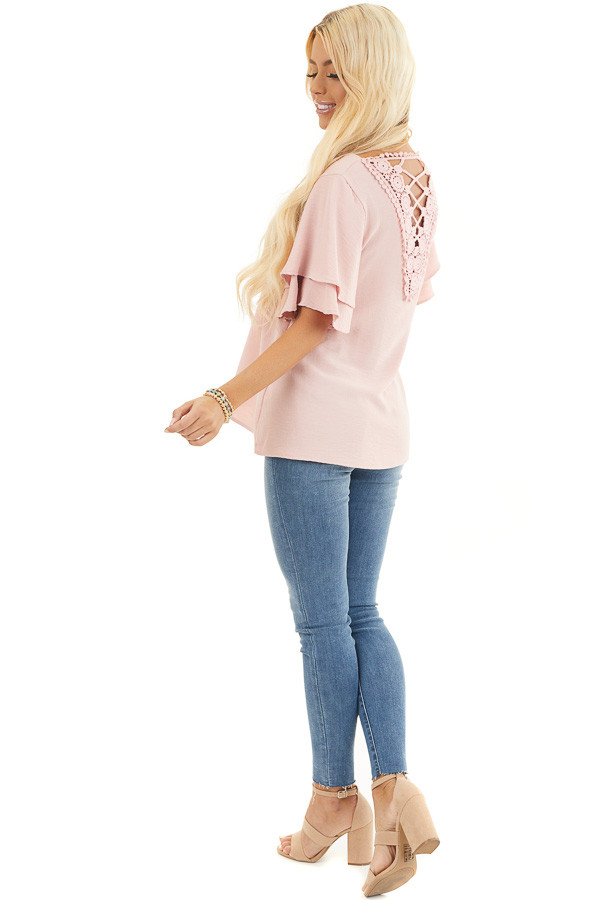 Dusty Blush Short Sleeve Top with Back Lace Panel Detail side full body