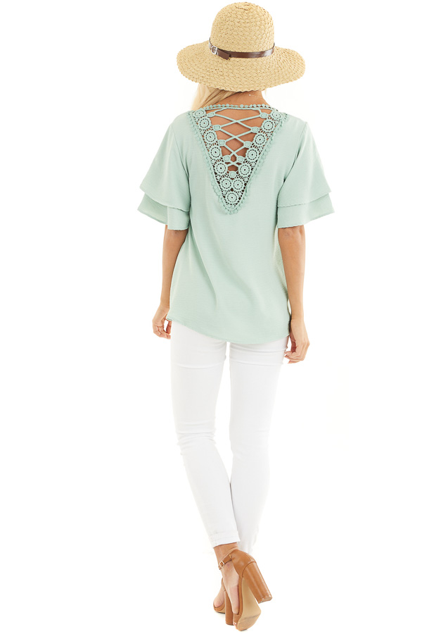 Sage Green Short Sleeve Top with Back Lace Panel Detail back full body