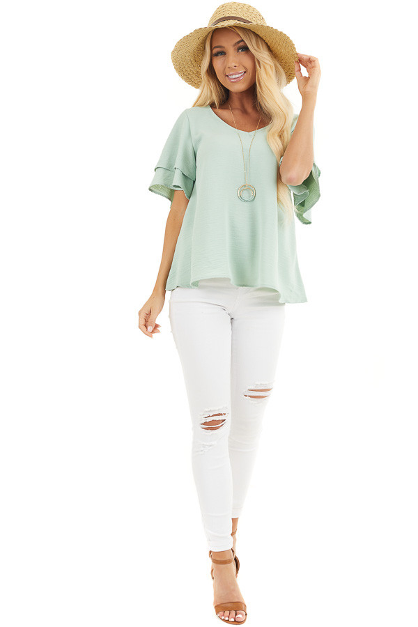 Sage Green Short Sleeve Top with Back Lace Panel Detail front full body