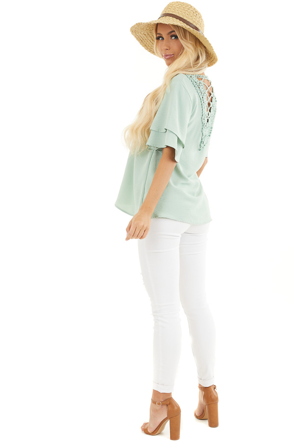Sage Green Short Sleeve Top with Back Lace Panel Detail side full body