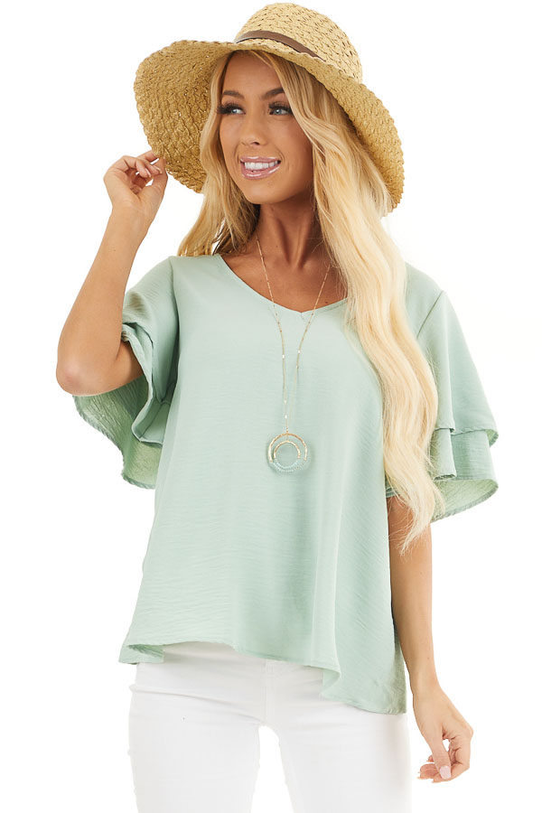 Sage Green Short Sleeve Top with Back Lace Panel Detail front close up