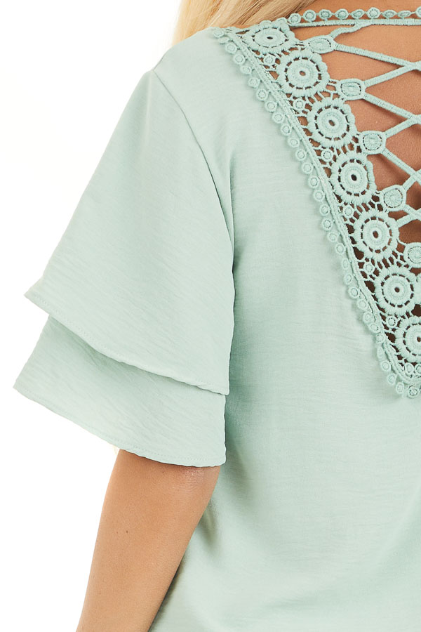 Sage Green Short Sleeve Top with Back Lace Panel Detail detail