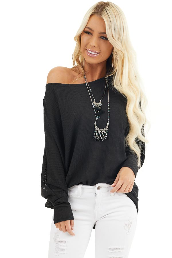 Black Off Shoulder Knit Top with Long Dolman Sleeves front close up