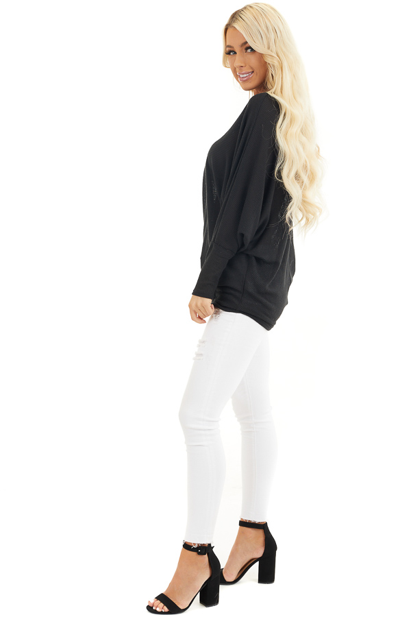 Black Off Shoulder Knit Top with Long Dolman Sleeves side full body