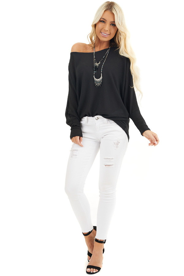 Black Off Shoulder Knit Top with Long Dolman Sleeves front full body