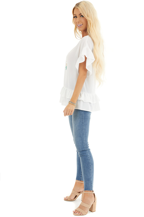 Ivory Peplum Top with Round Neckline and Ruffle Sleeves side full body