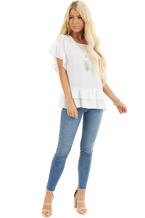 Ivory Peplum Top with Round Neckline and Ruffle Sleeves front full body