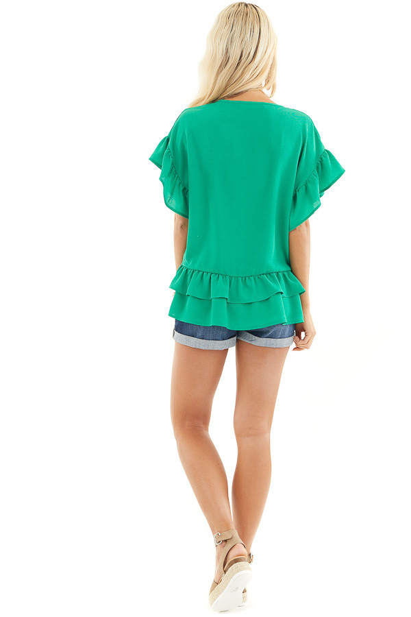 Green Peplum Top with Round Neckline and Ruffle Sleeves back full body