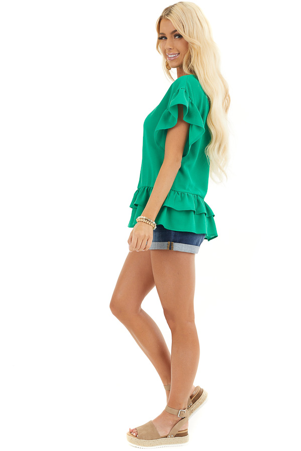 Green Peplum Top with Round Neckline and Ruffle Sleeves side full body