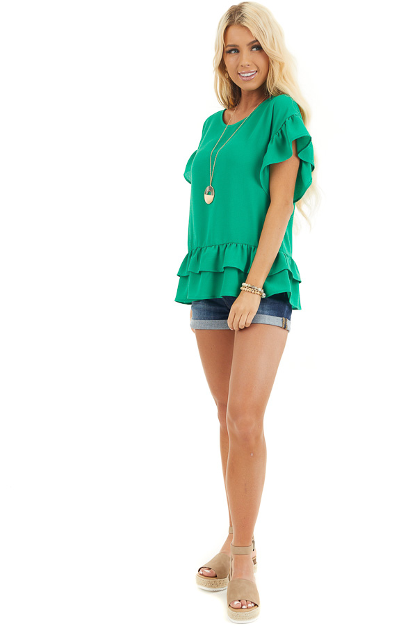 Green Peplum Top with Round Neckline and Ruffle Sleeves front full body