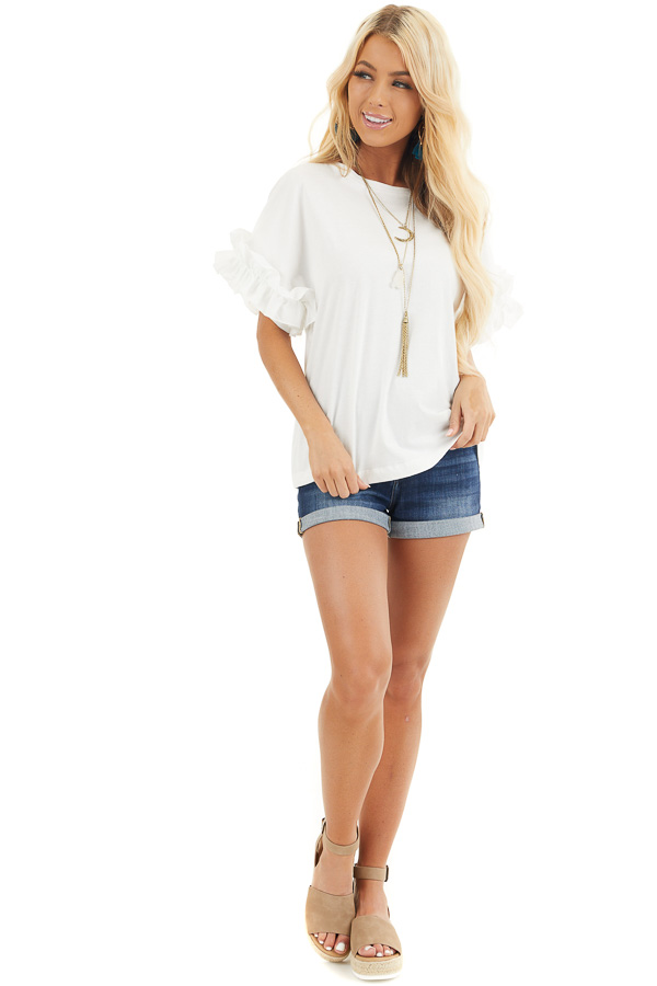 Ivory Knit Top with Round Neckline and Short Ruffle Sleeves front full body