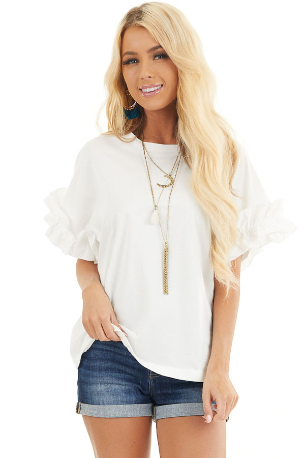 Ivory Knit Top with Round Neckline and Short Ruffle Sleeves front close up