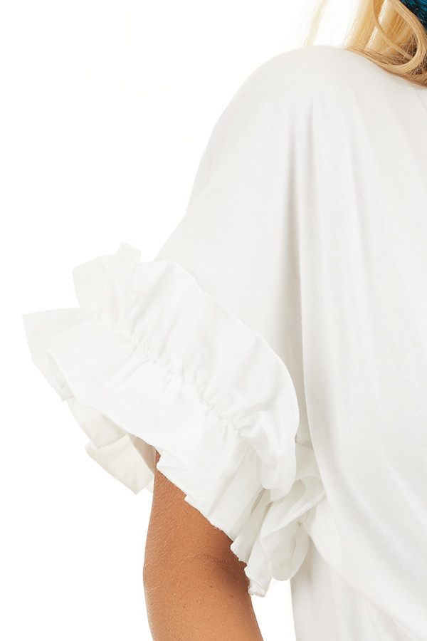 Ivory Knit Top with Round Neckline and Short Ruffle Sleeves detail