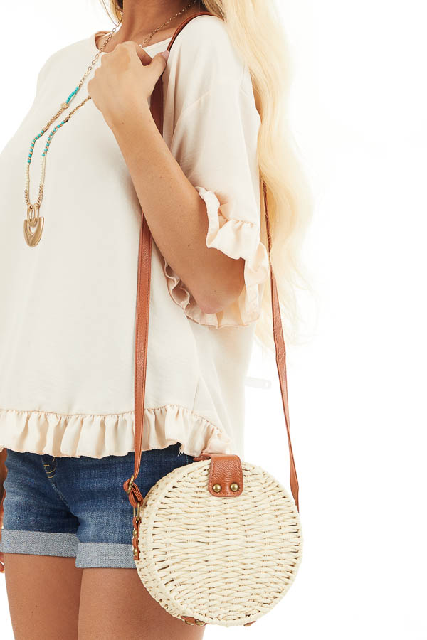 Natural Straw Round Cross Body Bag with Faux Leather Details