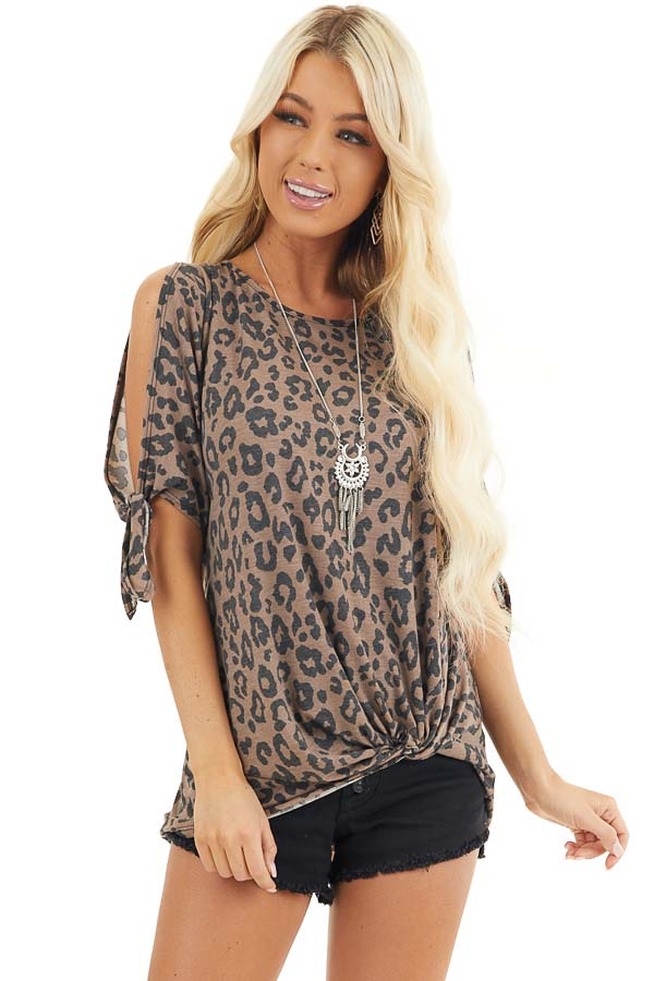 Coffee Leopard Print Cold Shoulder Top with Front Twist front close up
