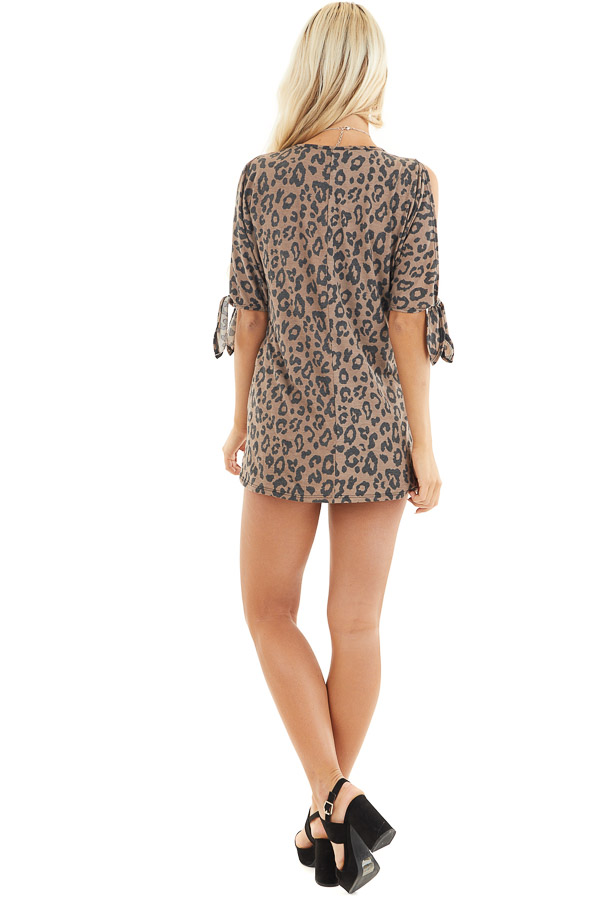 Coffee Leopard Print Cold Shoulder Top with Front Twist back full body