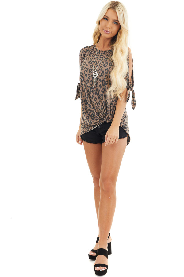 Coffee Leopard Print Cold Shoulder Top with Front Twist front full body