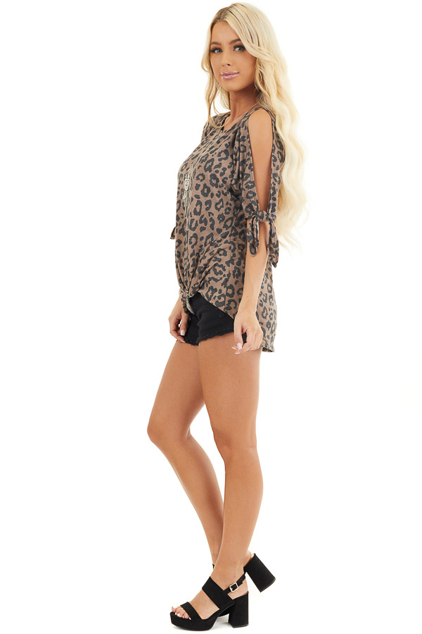 Coffee Leopard Print Cold Shoulder Top with Front Twist side full body