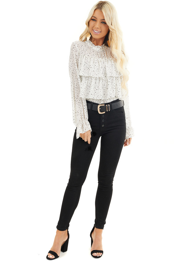 Ivory Polka Dot Top with Mock Neck and Ruffle Details front full body