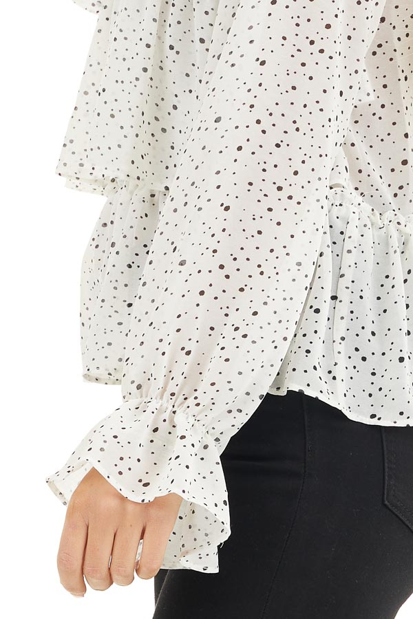 Ivory Polka Dot Top with Mock Neck and Ruffle Details detail