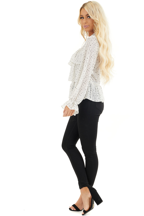 Ivory Polka Dot Top with Mock Neck and Ruffle Details side full body