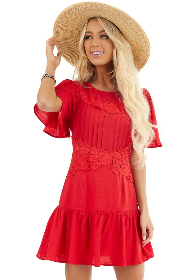 Ruby Red Mini Dress with Bell Sleeves and Lace Front Detail front close up