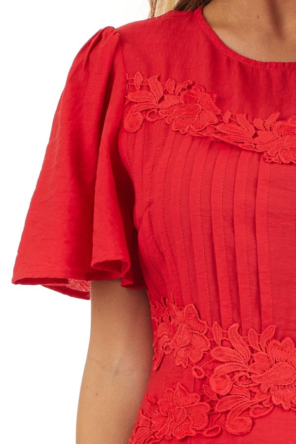Ruby Red Mini Dress with Bell Sleeves and Lace Front Detail detail