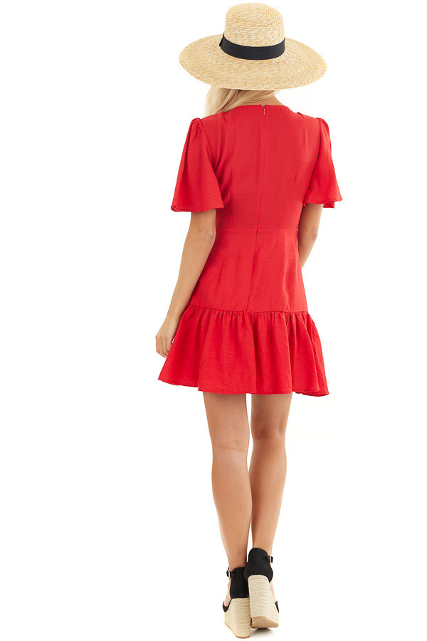 Ruby Red Mini Dress with Bell Sleeves and Lace Front Detail back full body