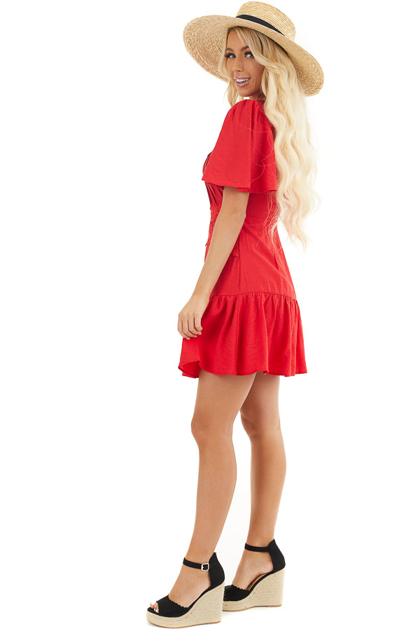 Ruby Red Mini Dress with Bell Sleeves and Lace Front Detail side full body
