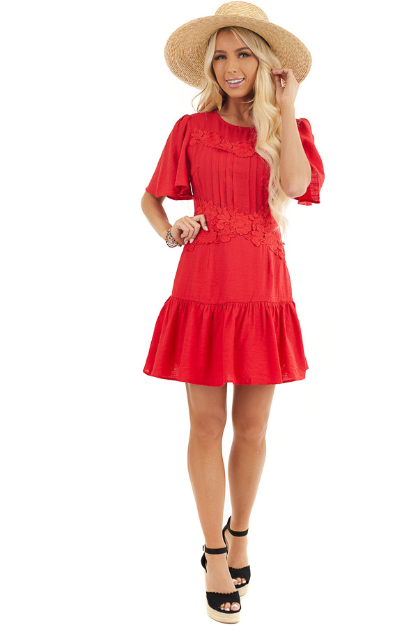 Ruby Red Mini Dress with Bell Sleeves and Lace Front Detail front full body