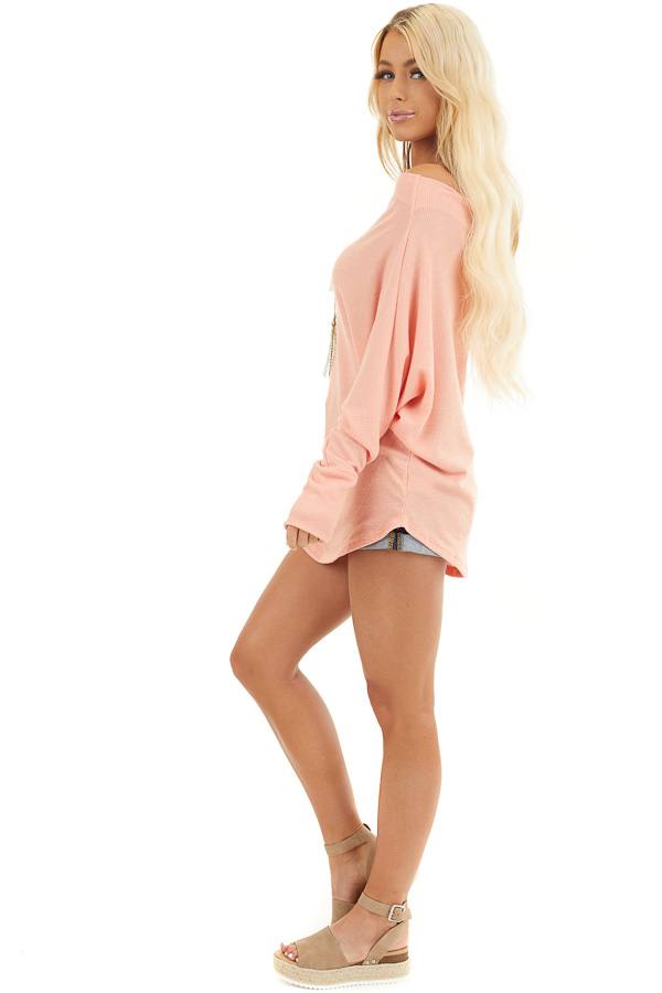 Peach Off the Shoulder Waffle Knit Top with Dolman Sleeves side full body