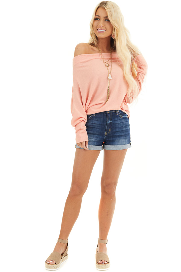 Peach Off the Shoulder Waffle Knit Top with Dolman Sleeves front full body