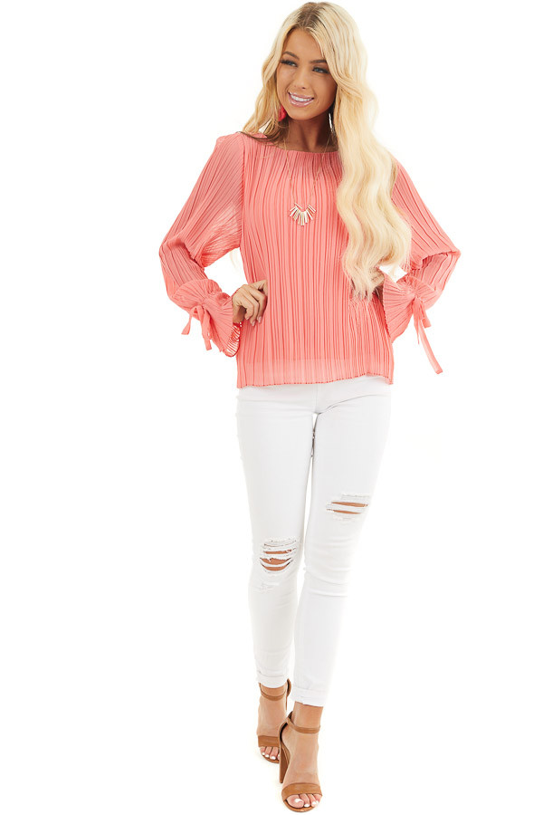 Coral Long Sleeve Top with Round Neckline and Pleat Details front full body