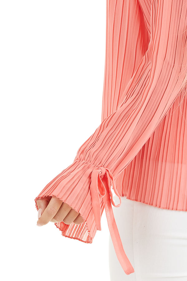 Coral Long Sleeve Top with Round Neckline and Pleat Details detail