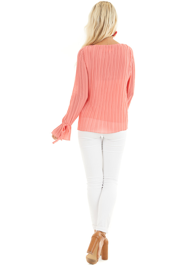 Coral Long Sleeve Top with Round Neckline and Pleat Details back full body