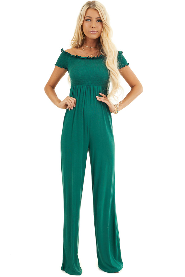 Forest Green Off Shoulder Jumpsuit with Smocked Bodice front full body