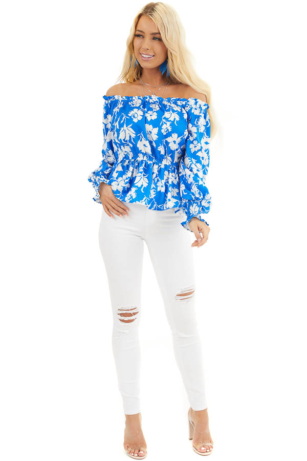 Bright Blue and White Floral Print Off the Shoulder Top front full body