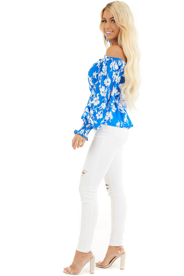 Bright Blue and White Floral Print Off the Shoulder Top side full body