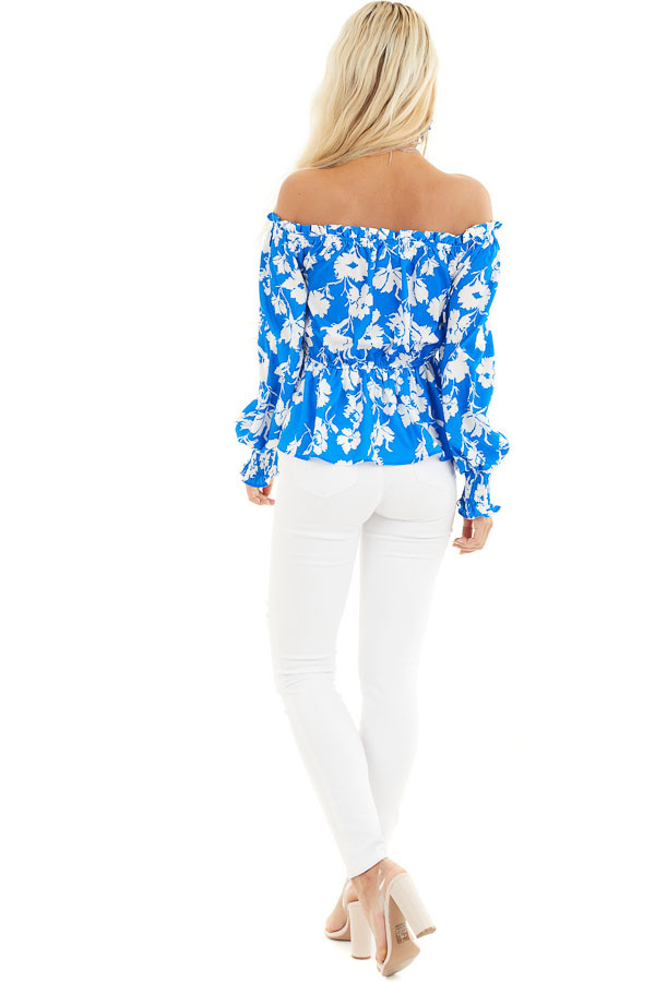 Bright Blue and White Floral Print Off the Shoulder Top back full body