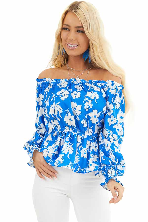 Bright Blue and White Floral Print Off the Shoulder Top front close up