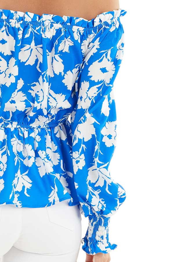 Bright Blue and White Floral Print Off the Shoulder Top detail